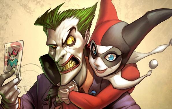 Картинка карта, Joker, DC Comics, Harley Quinn