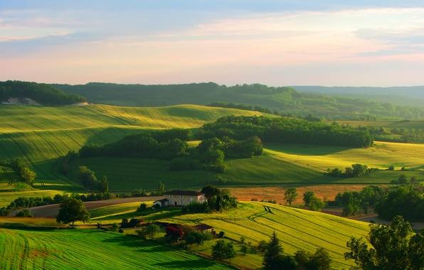 Обои картинки фото природа поля дом