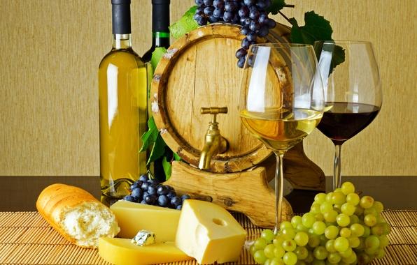 Картинка стол, вино, красное, белое, кран, сыр, бокалы, хлеб, виноград, бутылки, багет, грозди, бочонок