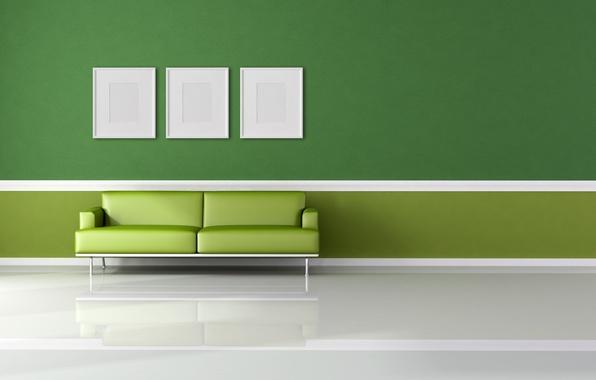 Картинка белый, зеленый, диван, минимализм