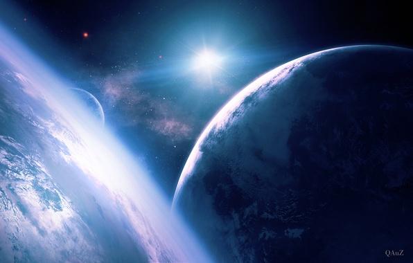 Картинка космос, звезда, планеты, спутник, арт, QAuZ