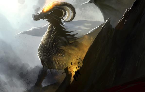 Картинка скала, фантастика, огонь, дракон, крылья, арт, лава, рога
