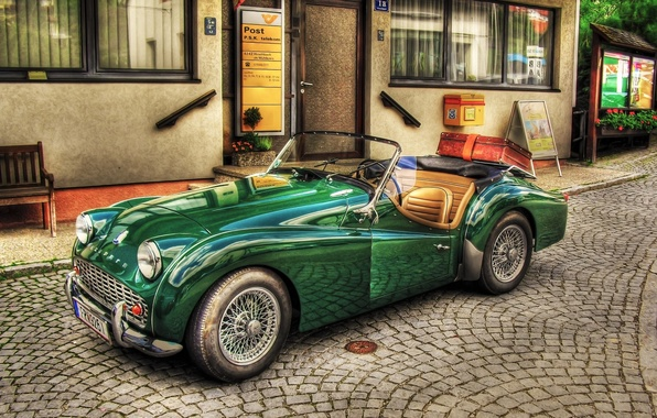 Картинка car, green, vintage, retro, old, cabriolet, old style, Triumph TR3, old car