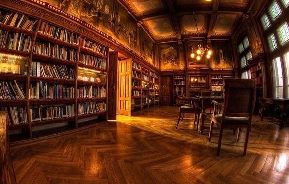 Картинка стол, книги, кресло, библиотека