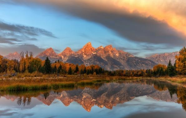 Картинка осень, лес, небо, вода, облака, отражения, горы, США, штат Вайоминг, национальный парк Гранд-Титон, Schwabachers Landing