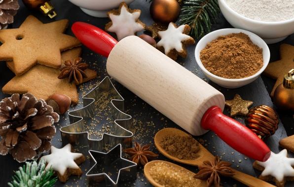 Картинка праздник, елка, печенье, сахар, корица, шишки, выпечка, специи, скалка, бадьян, формочка