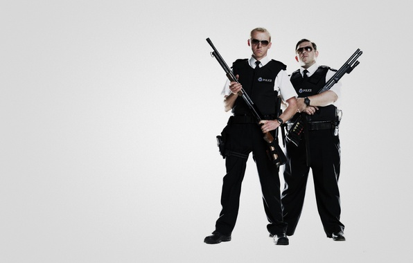 Картинка оружие, пушки, police, Саймон Пегг, Nick Frost, Simon Pegg, полицейские, Типа крутые легавые, Hot Fuzz, …