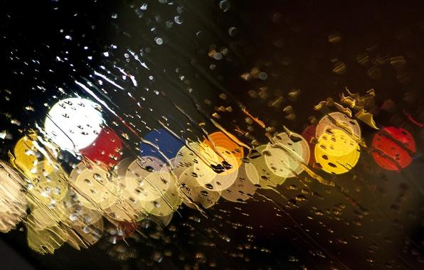 Картинка стекло, вода, капли, огни, дождь, ливень, потоки, glass sprayed with water an evening sky, Canon …