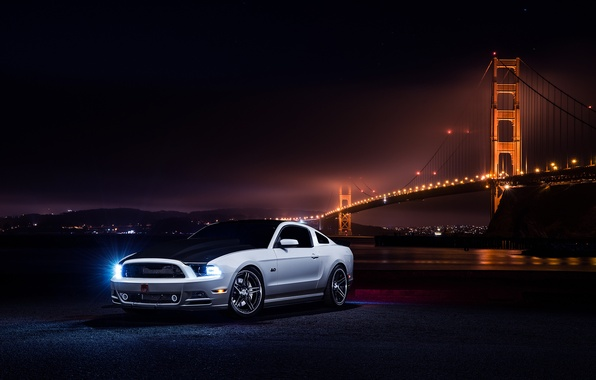 Картинка Mustang, Ford, Muscle, Car, Front, Bridge, White, Collection, Aristo, Nigth