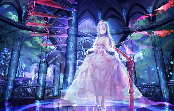 Картинка девушка, аниме, лошади, арт, лестница, принцесса, red flowers, тиара