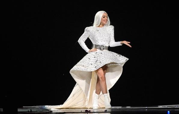 Картинка девушка, music, концерт, шоу, певица, white, fashion, знаменитость, dress, singer, live, Lady Gaga, pop, Леди …