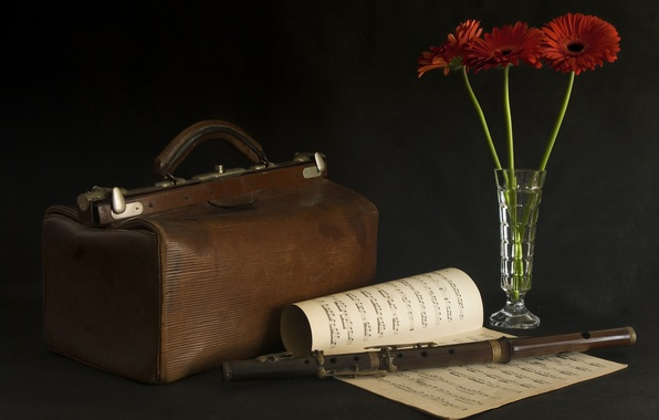 Картинка цветы, ноты, флейта