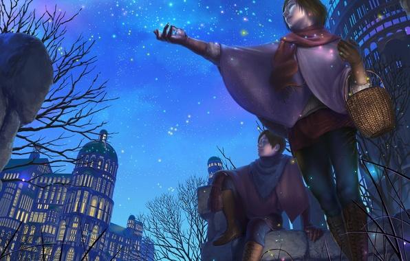 Картинка небо, девушка, звезды, ночь, дома, шарф, арт, парень, корзинка, reishin