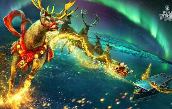 Картинка море, полет, корабль, новый год, северное сияние, фэнтези, подарки, авианосец, палуба, сани, Санта Клаус, олени, …