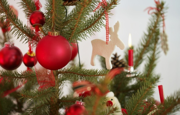 Картинка ленты, праздник, игрушки, новый год, свечи, ёлка, декорации, happy new year, christmas decoration, новогодние обои, …