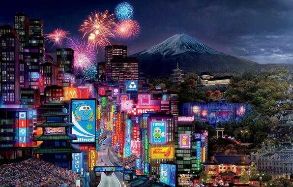 Картинка машины, город, огни, спорт, здания, мультфильм, гора, трасса, салют, вулкан, Молния, Токио, гонки, sport, Pixar, …