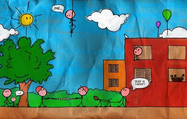 Картинка дом, люди, страх, ситуации, улица, человек, минимализм, арт, рисунки