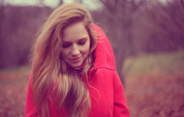 Картинка осень, девушка, улыбка, куртка