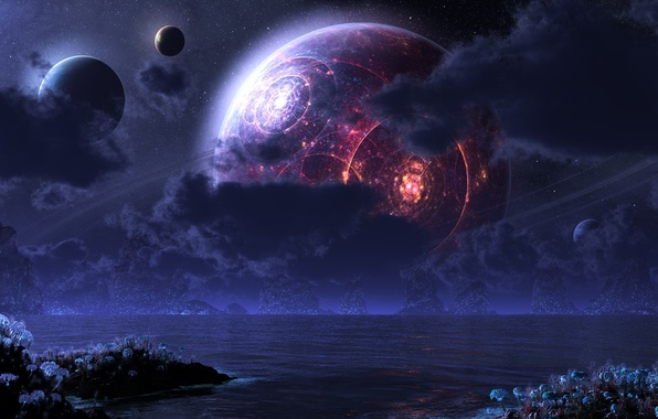 Картинка fantasy, landscape, flowers, planets, Sci Fi