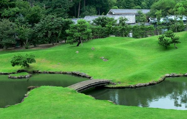Картинка мост, ручей, Япония, сад, лужайка