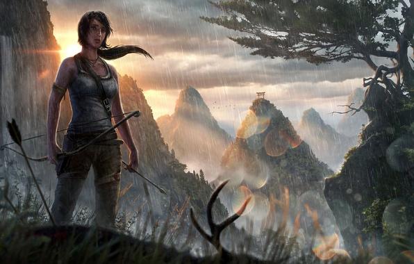 Картинка девушка, солнце, горы, дождь, азия, водопад, лук, арт, стрела, Tomb Raider, lara croft