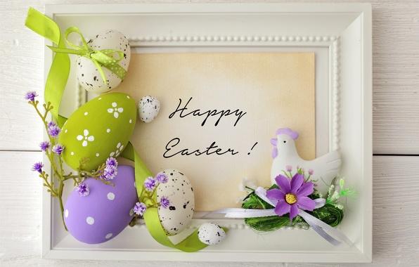 Картинка цветы, яйца, Пасха, лента, flowers, spring, Easter, eggs
