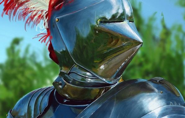 Картинка металл, перья, арт, шлем, рыцарь, доспех