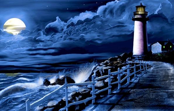 Картинка море, волны, облака, ночь, луна, маяк, дорожка, прибой