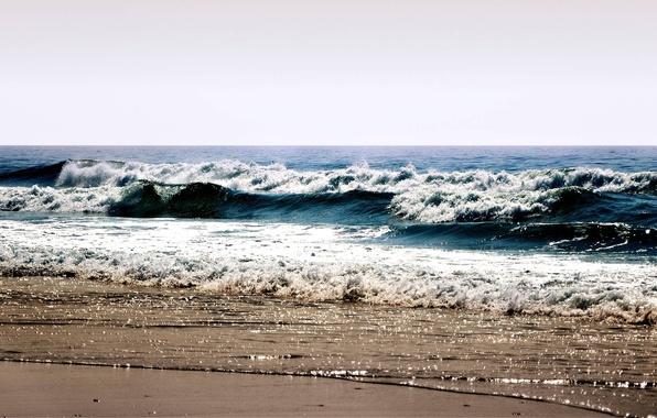 Картинка море, волны, пляж, лето, небо, пена, вода, пейзаж, брызги, берег, sea, ocean, water, beaches, weaves, …