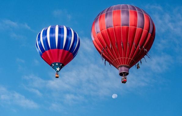 Картинка небо, воздушный шар, спорт, Луна