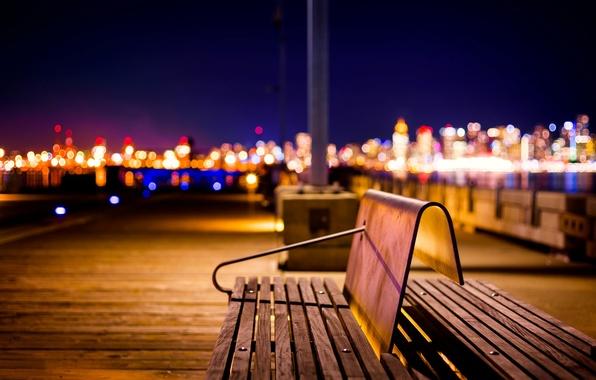 Картинка свет, ночь, город, огни, причал, Канада, лавочки, боке, Британская Колумбия, Северный Ванкувер