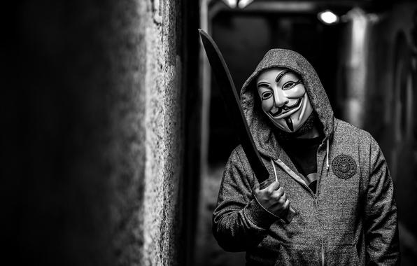 Картинка маска, мужчина, anonymous, мачета