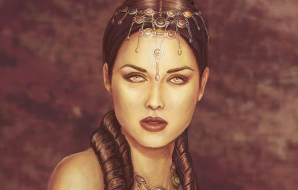 Картинка взгляд, девушка, украшения, лицо, макияж, прическа, губы, жрица, плечи, королева