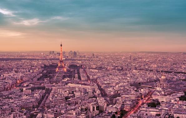 Картинка небо, облака, деревья, город, Франция, Париж, здания, дороги, дома, панорама, Эйфелева башня, Paris, архитектура, улицы, ...