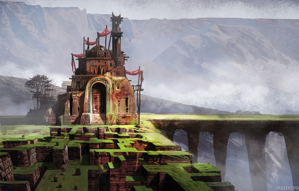 Картинка горы, мост, дом, арт, лабиринт