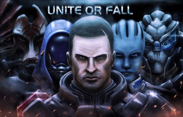 Картинка mass effect, fan art, Legion, Shepard, Spectre, Garrus Vakarian, krogan, Geth, turian, characters, asari, Quarian, …