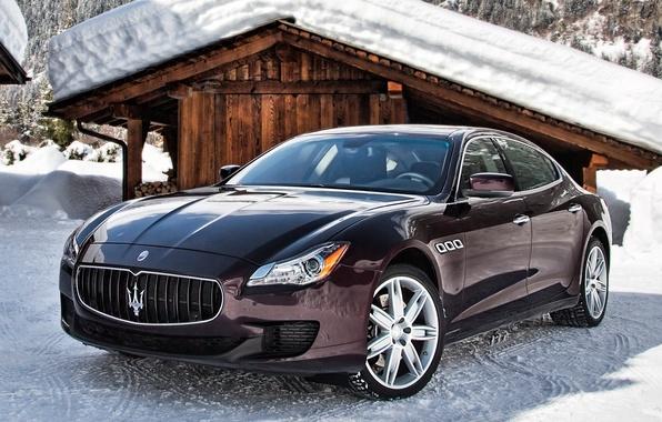 Картинка снег, Maserati, Quattroporte, автомобиль, мазерати, итальянский