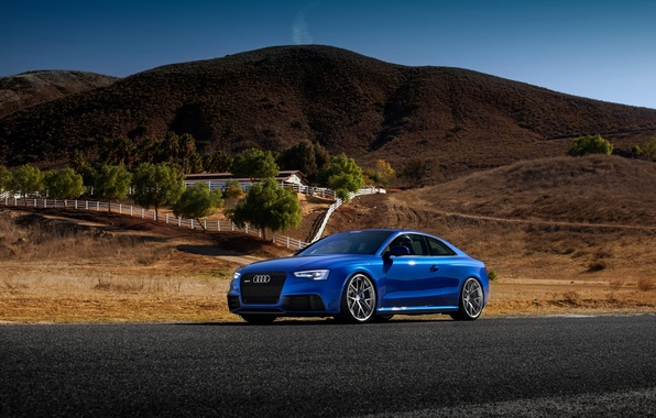 Картинка Audi, Car, Blue, RS5, Sport, Road, Wheels, Tuned, HRE