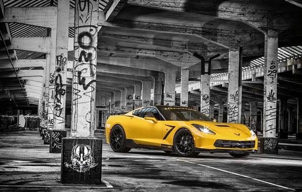 Картинка Corvette, Chevrolet, Muscle, Car, Front, Yellow, Stingray, HPE700, 2015, Ruffer