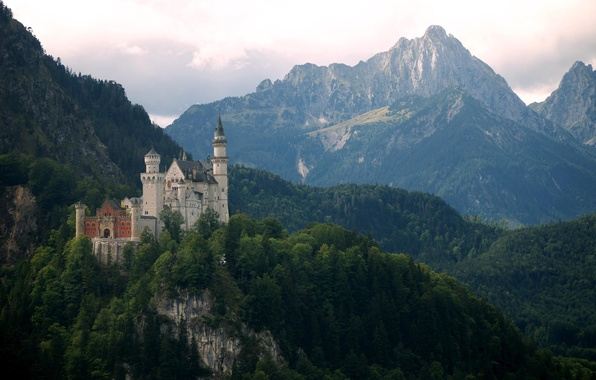Фото обои Нойшванштайн, горы, Германия, Бавария, Neuschwanstein, замок
