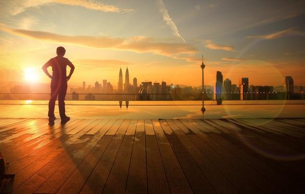 Картинка море, лето, небо, солнце, облака, природа, город, отражение, река, настроения, здания, ребенок, мальчик, утро, день, …