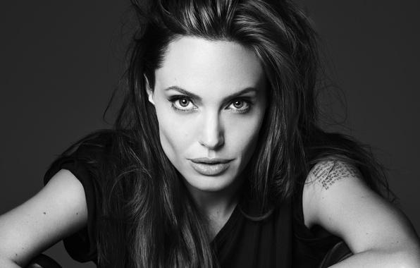 Картинка взгляд, девушка, обои, актриса, брюнетка, Анджелина Джоли, Angelina Jolie, черно-белое, sexy, красотка, журнал, фотосессия, elle, …