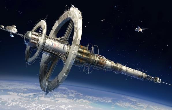 Картинка космос, корабль, планета, станция, арт, орбита
