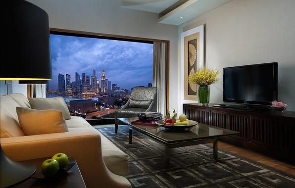 Картинка дизайн, город, стиль, стол, комната, диван, яблоки, вид, лампа, интерьер, картина, кресло, подушки, телевизор, окно, …