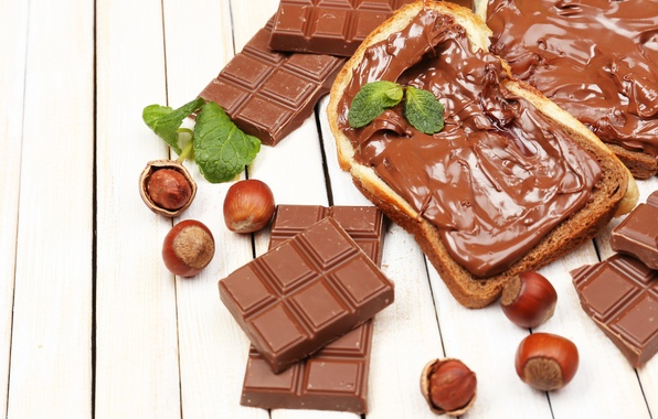 Картинка шоколад, хлеб, орехи, крем, chocolate, nuts, шоколадная паста, toast