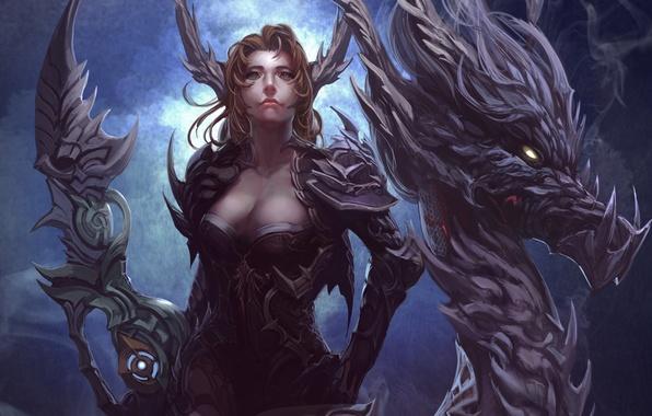 Картинка взгляд, девушка, дракон, дым, арт