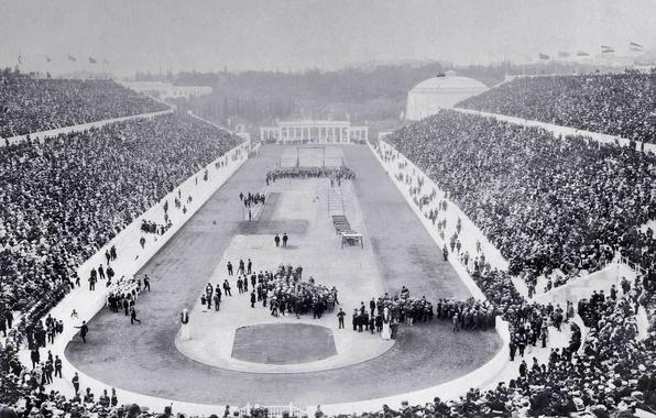 Картинка Греция, Олимпиада, стадион, Олимпийские игры, открытие, Афины, 1896 год