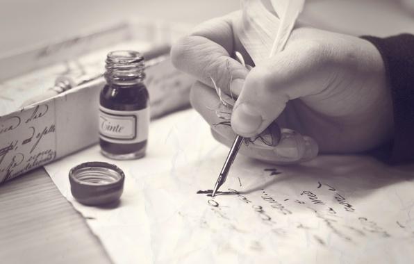 Картинка письмо, перо, рука, чернила