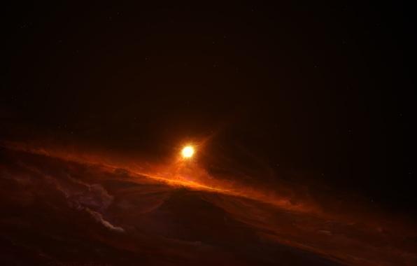 Картинка солнце, космос, звезды, рисунок