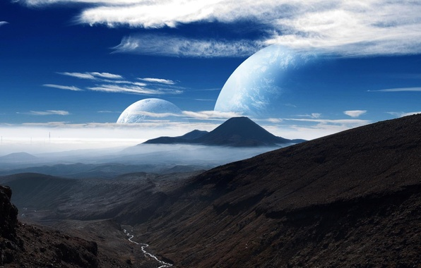 Картинка небо, облака, горы, луна, Планета